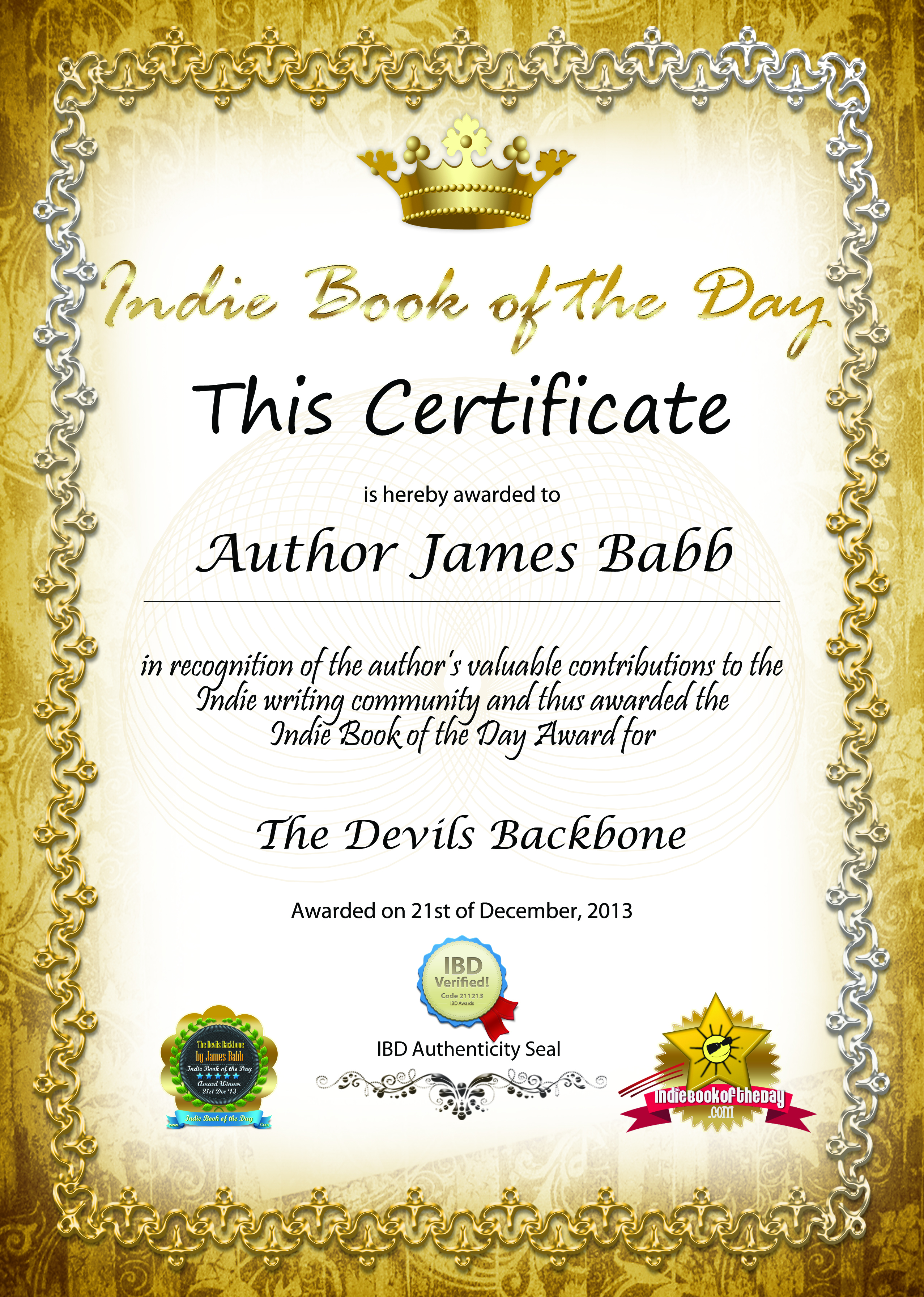 The devils backbone wins indie book award james babb royal certificates yadclub Images