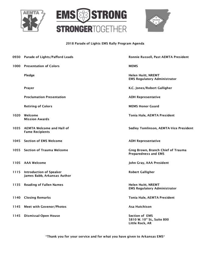 2018 Parade of Lights EMS Rally Program Agenda